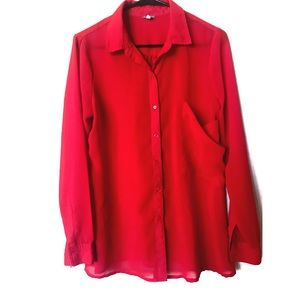 Charlotte Russe Sheer Red Button Down Blouse
